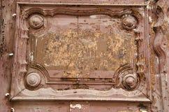 木古老门的片段 免版税库存图片