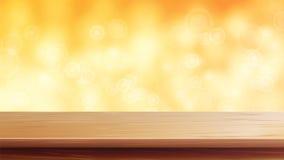 木台式传染媒介 桔子,秋天,黄色Bokeh背景 空的木甲板桌 在金子Bokeh的抽象光 库存例证