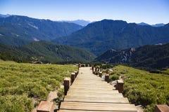 木台阶在hehuanshan森林度假区 免版税库存照片