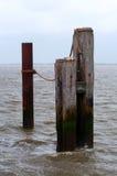 木和铁系船柱在水中 库存图片