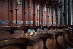 木唱诗班摊位在萨利大教堂里 免版税库存图片
