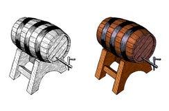 木啤酒barrelt,手墨水图画,传染媒介 库存图片