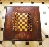木国际象棋棋局大约1930年 免版税库存照片