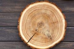 木圆的空的圆盘,自然木纹理,背景 库存照片
