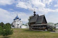 木圣尼古拉斯`教会,苏兹达尔克里姆林宫 免版税库存图片