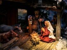 木圣诞节小儿床细节 免版税库存图片