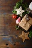 木圣诞节背景 免版税库存照片