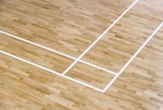 木地板排球,篮球,与光的羽毛球场 免版税库存图片