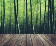 木地板竹森林射击平静自然概念 库存图片