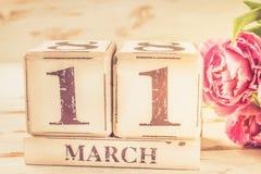 木块与母亲节日期, 3月11日 库存图片
