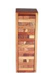 木块在白色隔绝的箱子耸立 库存图片