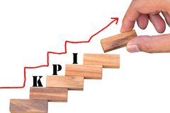 木块的堆栈级别与KPI的措辞和镭 免版税图库摄影