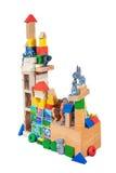 从木块的玩具城堡 免版税图库摄影