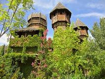 木城堡在一个主题乐园在马德里 免版税库存图片