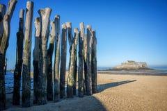 木堆处于低潮中,堡垒国民在背景中,海滩圣马洛湾,法国 免版税图库摄影