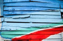 木墙壁五颜六色为背景 库存图片
