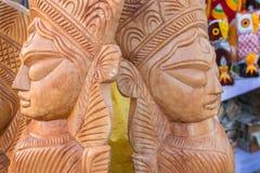 木头做了女神杜尔加,公平印地安的工艺品 库存照片