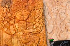 木头做了女神杜尔加,公平印地安的工艺品 免版税库存照片