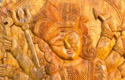 木头做了女神杜尔加,在显示的工艺品 免版税库存照片