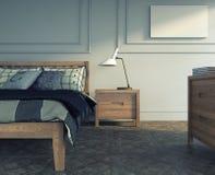 木头的卧室 免版税库存照片