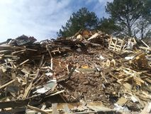 木头被回收的吨 免版税库存图片