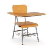 木学校书桌 库存图片
