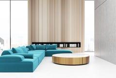 木客厅内部,蓝色 向量例证