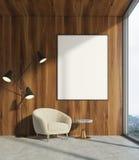 木客厅,白色扶手椅子,海报 向量例证