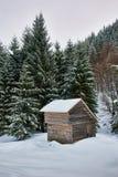 木客舱在冬天 库存图片