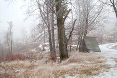 木小屋在多雪的森林里 免版税库存图片
