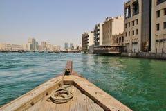 木小船在迪拜 库存图片