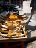 木小船工艺手工在一个纪念品店在越南 免版税图库摄影