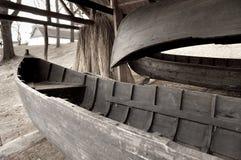木小船老的棚子 图库摄影