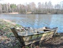 木小船,立陶宛 库存图片