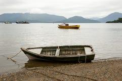 木小船- Puerto Cisnes -智利 免版税库存图片