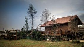 木屋在蓝天下 免版税库存图片