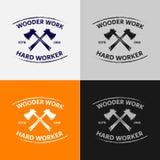 木工作商标模板 免版税库存图片