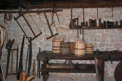 木工艺品工具,登上Zlatibor,塞尔维亚 免版税库存照片