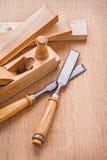 木工飞机和木匠业的Compostion 免版税图库摄影