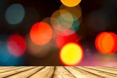 木平台有Bokeh背景 图库摄影