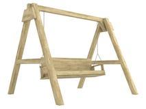 木庭院摇摆长凳 库存照片