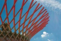 木弯曲的结构:与现代建筑Desi的大厦 图库摄影