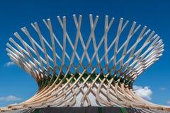 木弯曲的结构:与现代建筑Desi的大厦 免版税图库摄影