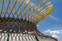 木弯曲的结构:与现代建筑Desi的大厦 免版税库存照片