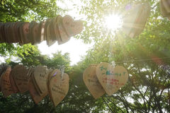木徽章心脏形状祝福电话的EMA 库存图片