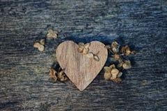 木心脏和干花在木纹理背景 冷口气 免版税库存图片