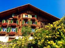木房子在一个小镇在少女峰Alpen Switzlan山区  库存照片
