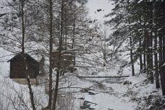 木房子在冬天 库存图片