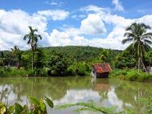 木房子在山湖 免版税图库摄影