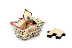 木房子在手提篮、物产投资和房子 免版税库存图片